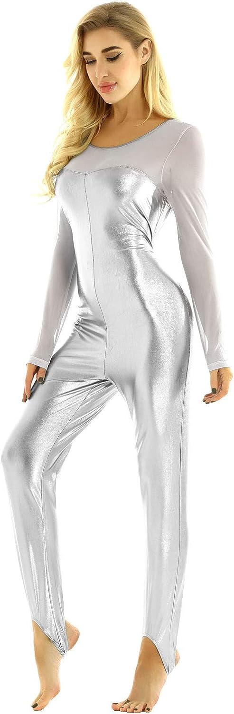 Freebily Womens Shiny Metallic Catsuit Long Sleeve Stirrup Dance Unitard Gymnastic Leotard Bodysuit
