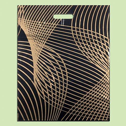Pack de 50 Eco negro y dorado impreso plá stico Compras/bolsas '' Red 40 x 50 cm EXTRAPACK