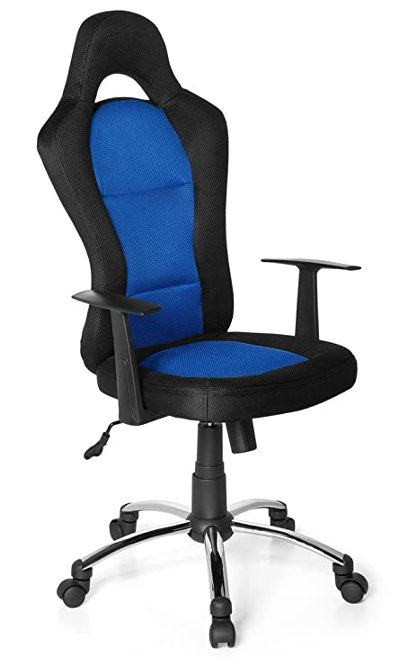 hjh OFFICE 634620 silla Gaming RACER 500 tejido negro / azul, con apoyabrazos, inclinable