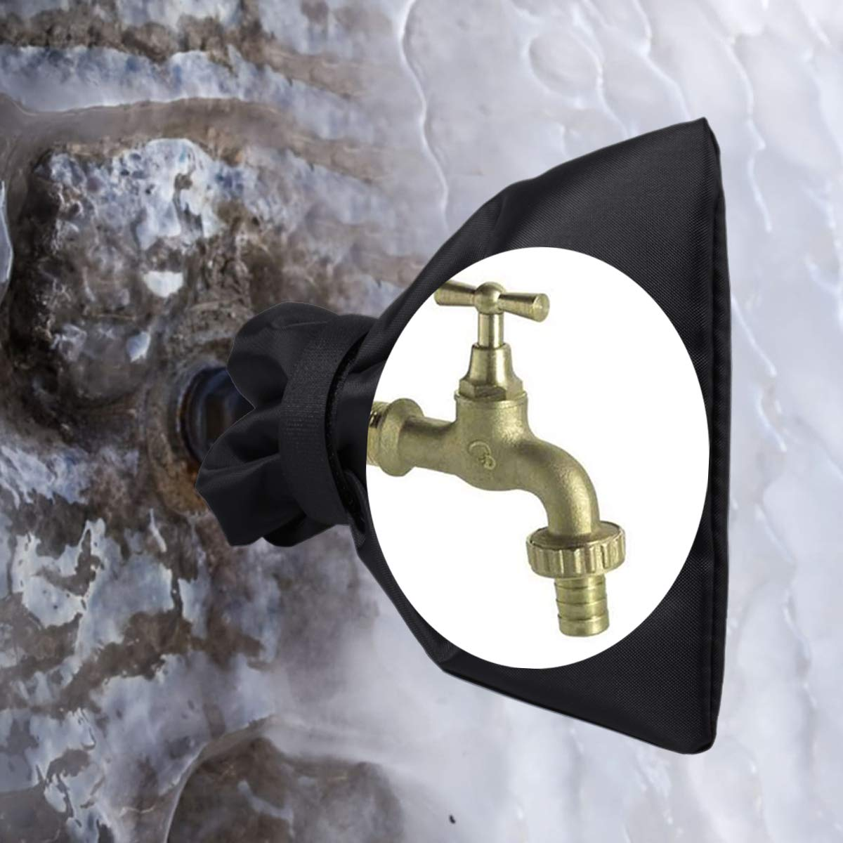 black 2pcs Outdoor Garden Tap Protector From Frost Protect Your Outside Garden Tap From Freezing CT Outside Tap Covers For the Winter