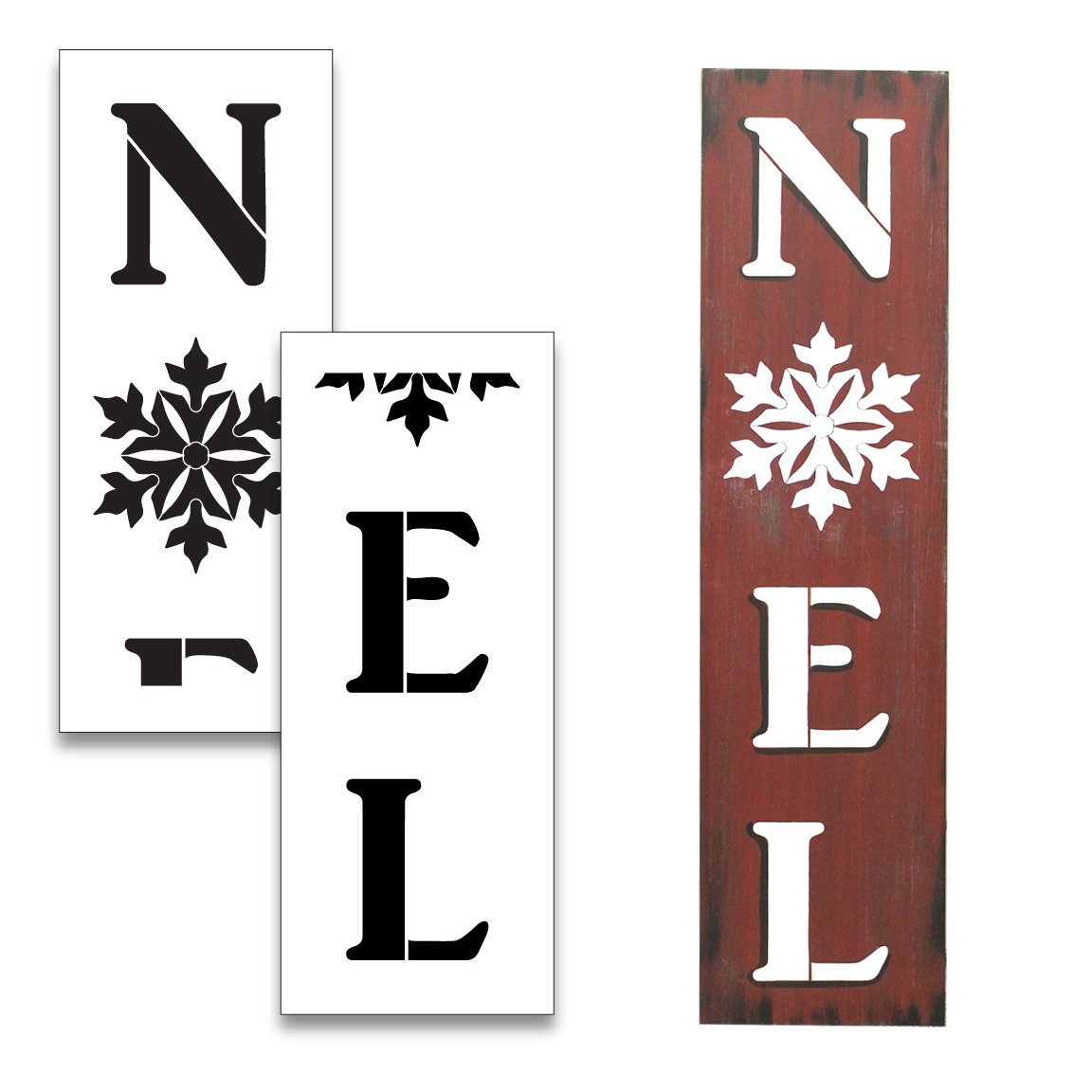 Large 48 NOEL STENCIL with Snowflake for Painting on Wood   Reusable Mylar   Ideal for DIY Crafting Tall Vertical Christmas Porch & Pallet Entrance Signs - 48 x 12 2 Pcs Studio R 12