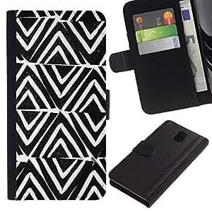 KingStore / Leather Etui en cuir / Samsung Galaxy Note 3 III / Modelo Modelo Blanco Negro