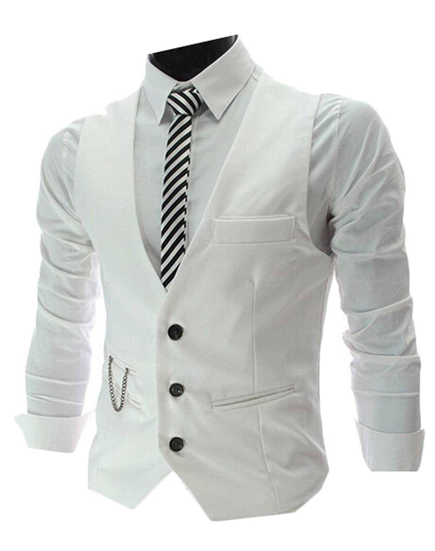 Alion Men's V-neck Sleeveless Slim Fit Jacket Vests