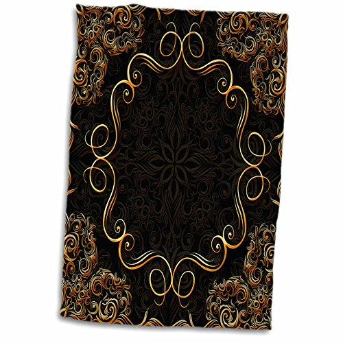 Damask Hand Towel - 3D Rose Elegant Gold Design on a Dark Chocolate Brown Damask Background Hand/Sports Towel, 15 x 22