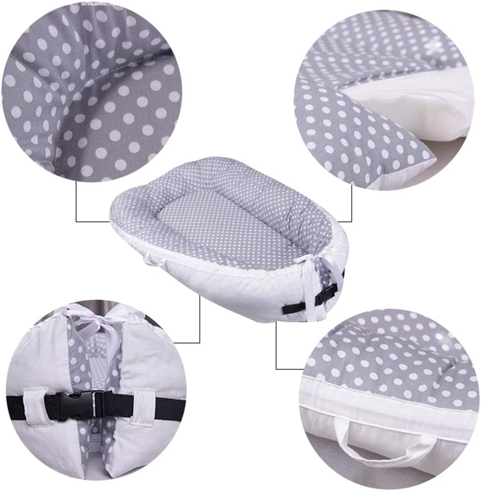 OUYAWEI Cute Pattern Printing Removable Washable Baby Infants Sleeping Bed Gray dot 80 50
