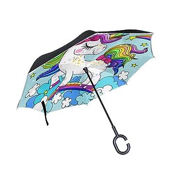 BETTKEN - Paraguas invertido de Unicornio con Forma de C para el Coche, para Hombres
