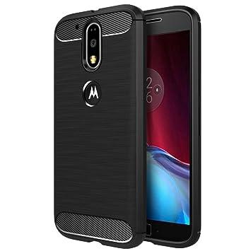 Simpeak Funda Compatible Motorola Moto G4 / G4 Plus 5.5 Negro TPU Moto G4 / G4 Plus Carcasa Funda Suave Flexible Piel Resistente a los Arañazos ...