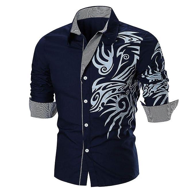 Camisas Hombre, Camisas de Personalidad Impresas Manga Larga Delgada Casual de Hombre Tops Blusa Camisetas de Manga Larga Niños Amlaiworld: Amazon.es: Ropa ...