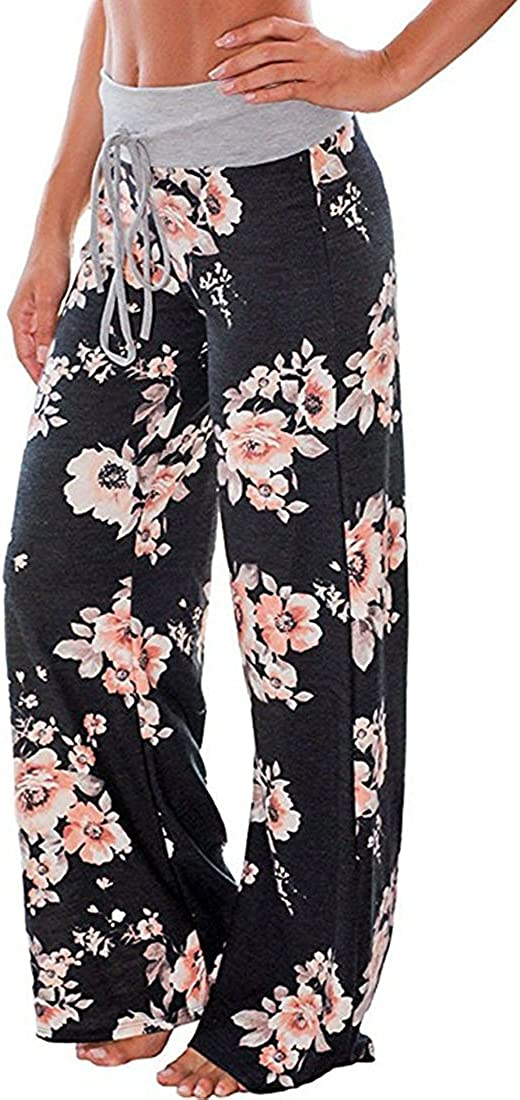 AMiERY Womens Comfy Casual Pajamas Pant Floral Printed High Waist Wide Legs Lounge Pants Trousers