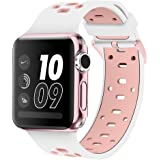 Apple Watch 42mm Bands, Coukou Silicone Sport Straps Replacement Wristband Bracelet for Apple Watch 42mm Series 2, Series 1 - White / Pink