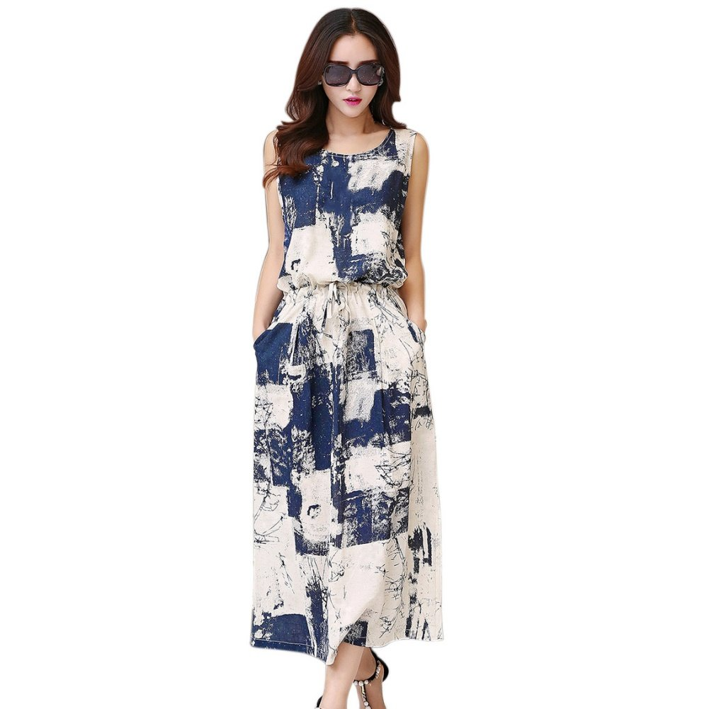 Sunsent Womens Ink Painting Print Sleeveless Cotton Linen Maxi Dress