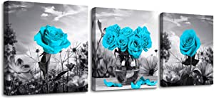Canvas Wall Art for Bedroom Black and white landscape Blue rose flowers Bathroom Wall Decor Canvas Prints Watercolor 12