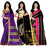 Trendz Combo Pack of Two Saree(Combo_Maliya_Purpl_Arun_Black_Patta_Pink)