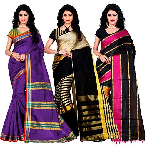 Trendz Combo Pack of Two Saree(Combo_Maliya_Purpl_Arun_Black_Patta_Pink)
