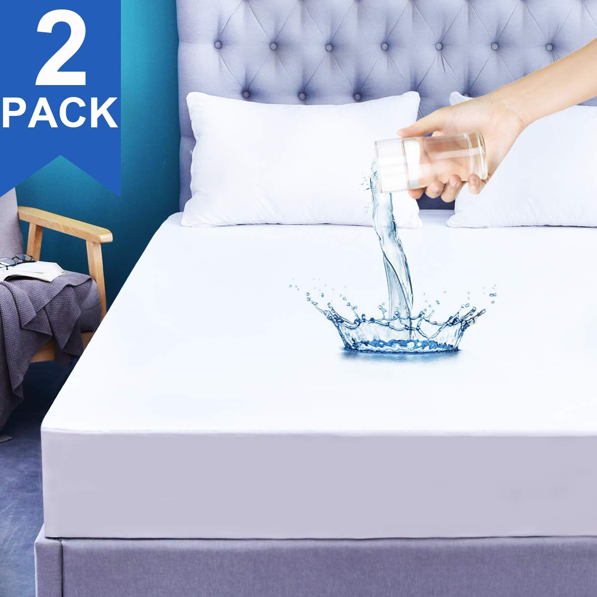 2-Pack Full Size Waterproof Mattress Protector Fitted Bed Cover 14 Deep Breathable Mattress Cover