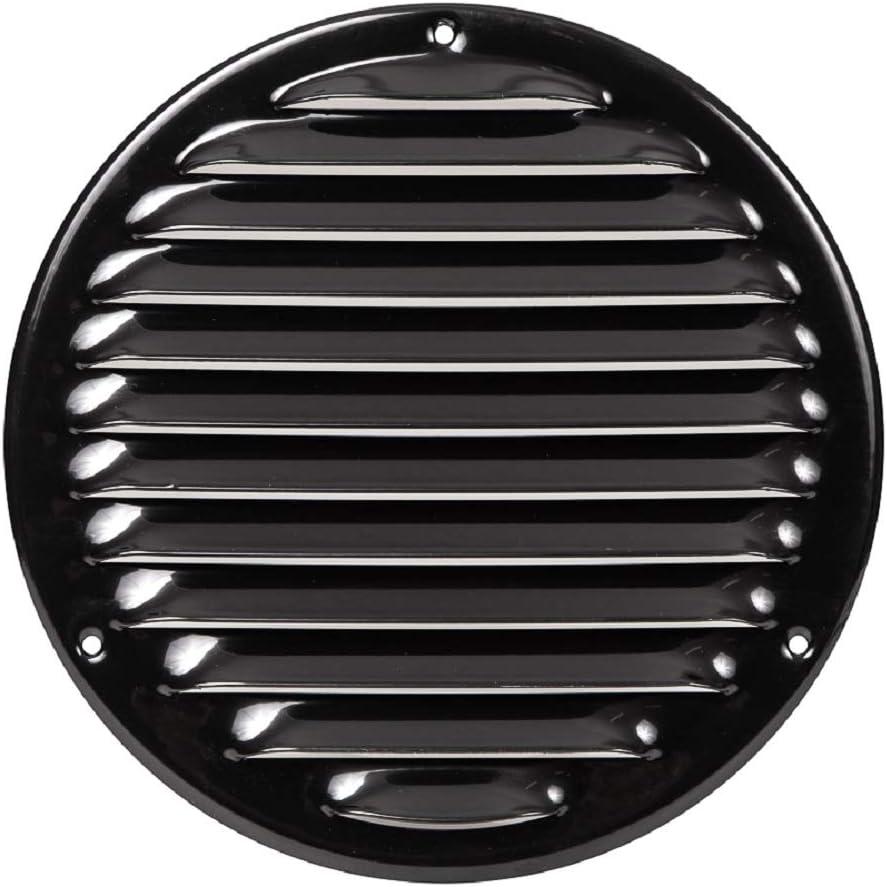 Rejilla de ventilación con protección contra insectos, redonda, 160 mm de diámetro, color negro, dimensiones exteriores: 200 mm