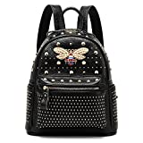 Ophlid Fashion Bee Womens Backpack Bag Genuine Leather Rivet Shoulder Backpack Purse (Black)