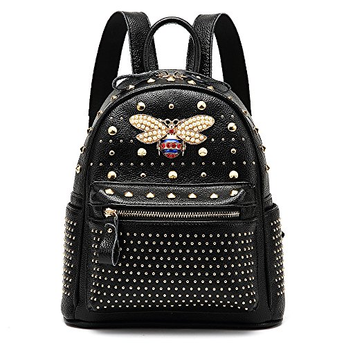 Women Black Backpack Backpack Ophlid Designer Genuine for Bee Leather Purse Bag Rivet Shoulder Fashion Small wx6Axq7a8