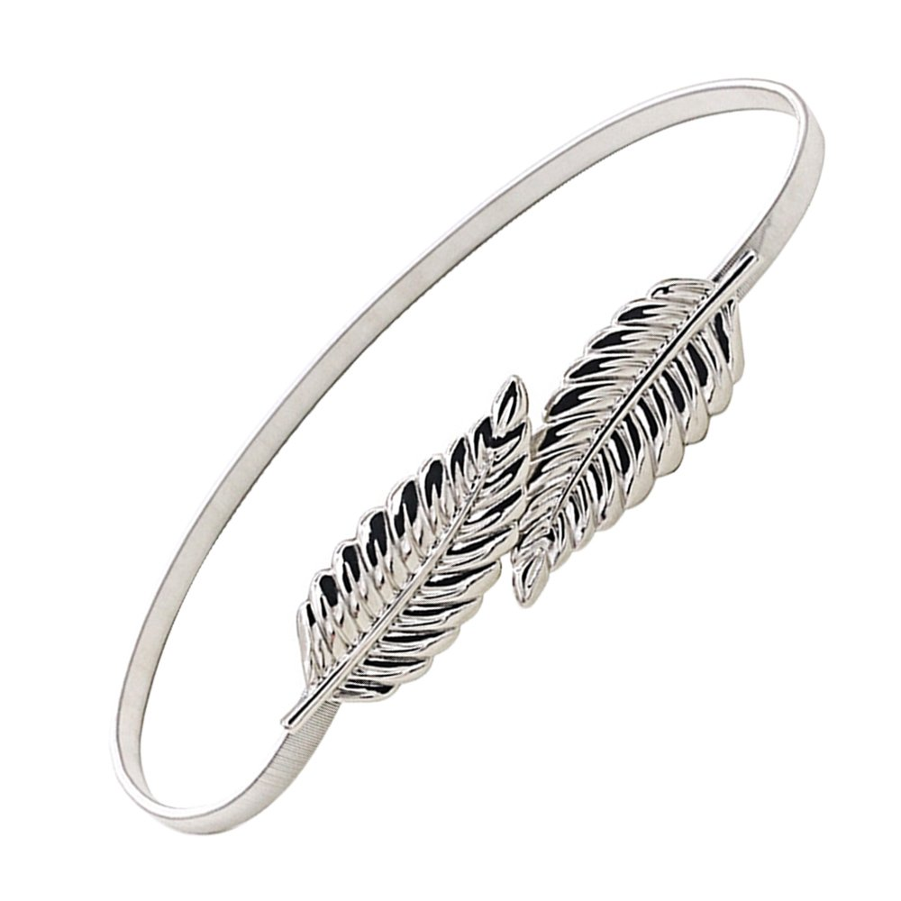 Moda Hojas del estilo del metal del estiramiento elástico de la cintura de la correa de la correa de la pretina del Cummerbund de plata