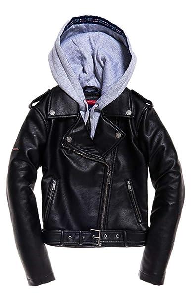 Pu Damen Mantel Superdry BikerBekleidung Hooded thrCQsd