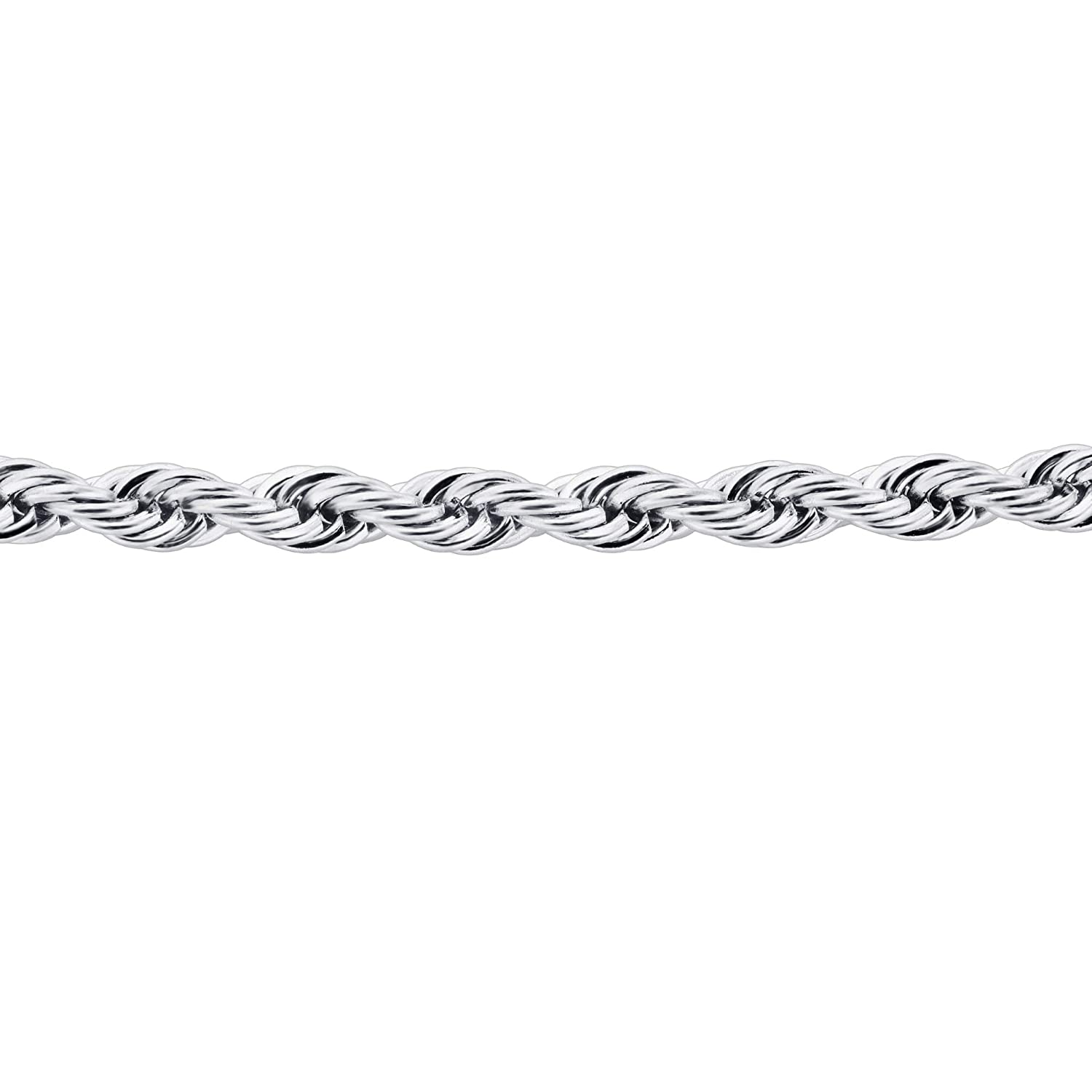 Gem Avenue Mens Stainless Steel 4mm Rope Chain Necklace
