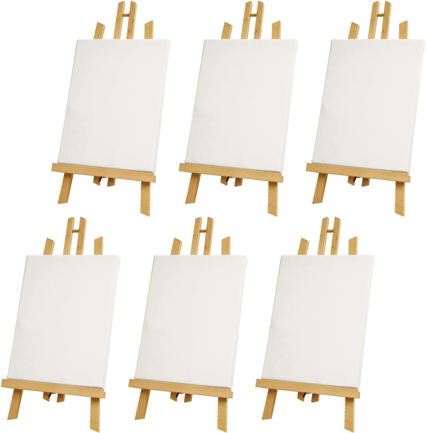 Complete Set of 6 Art Supply 11x14 Stretched Canvas and 18 Natural Wood Table Easel Kit U.S