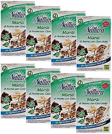 Nattura Muesli de Avena con Chocolate Orgánico Sin Leche Agregada Sin Aceite de Palma y Sin Levadura - 8 x 300 Gram: Amazon.es: Alimentación y bebidas