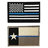 Police Law Enforcement Texas State Flag / American Flag Tactical Morale Patches for molle attachments and bulletproof vests / 2-PACK BUNDLE (Texas/USA Thin Blue Line, 2-Pack Bundle, 2' x 3')