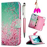 iPod Case iPod Touch 5 Case - MOLLYCOOCLE Pink Cherry Blossoms Stand Wallet Purse Credit Card ID Holders TPU Soft Bumper Premium PU Leather Ultra Slim Fit Cover for iPod Touch 5 5th Generation