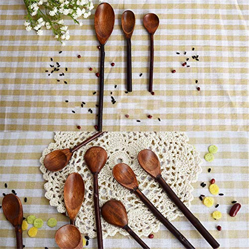 QWXXOAAQ 3 Pieces Nature Wood Flavoring Tea Coffee Spoon Soup 3 Different Length Spoons Straight Handle Handmade Kitchen Tools