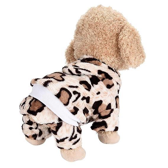 Ropa para Mascotas,Dragon868 Adorable Lindo Perro Mascota Suave Franela Leopardo Invierno Ropa de Abrigo: Amazon.es: Ropa y accesorios