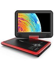 """ieGeek 11.5"""" Lettore DVD portatile con lo schermo girevole a 360° per protezione occhi LCD, batteria ricaricabile potenziata di 5 ore, riproduzione memoria supportata, riproduzione loop, Rosso"""