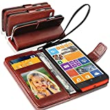 NOKIA LUMIA 930 - GBOS Genuine Real Rich Leather Stand Wallet Flip Case Cover / Quality Slip Pouch / Soft Phone Bag (Specially Manufactured - Premium Quality) Antique Leather Case ( Brown )