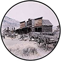 Printing Round Rug,Western Decor,Old Wooden Wagons from 20s in Ghost Town Antique Wyoming Wheels Art Print Mat Non-Slip Soft Entrance Mat Door Floor Rug Area Rug For Chair Living Room,Brown White