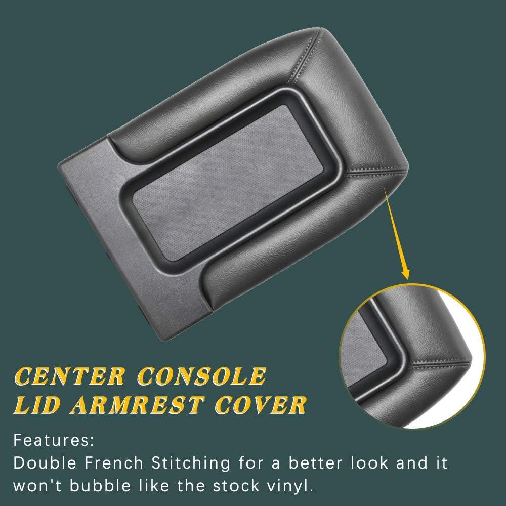 A ABIGAIL Center Console Lid Armrest Kit for Chevy Silverado 1500 Chevrolet Avalanche Tahoe GMC Sierra Yukon Cadillac Escalade Replaces 19127364 19127365 19127366 Dark Gray