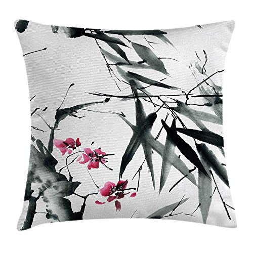 Riolaops Traditional House Decor Throw Pillow Cushion Cover, Natural Sacred Bamboo Stems with Cherry Blossom Folk Art Print, Decorative Square Accent Pillow Case, 16 X 16 Inches, Dark Green Fuchsia
