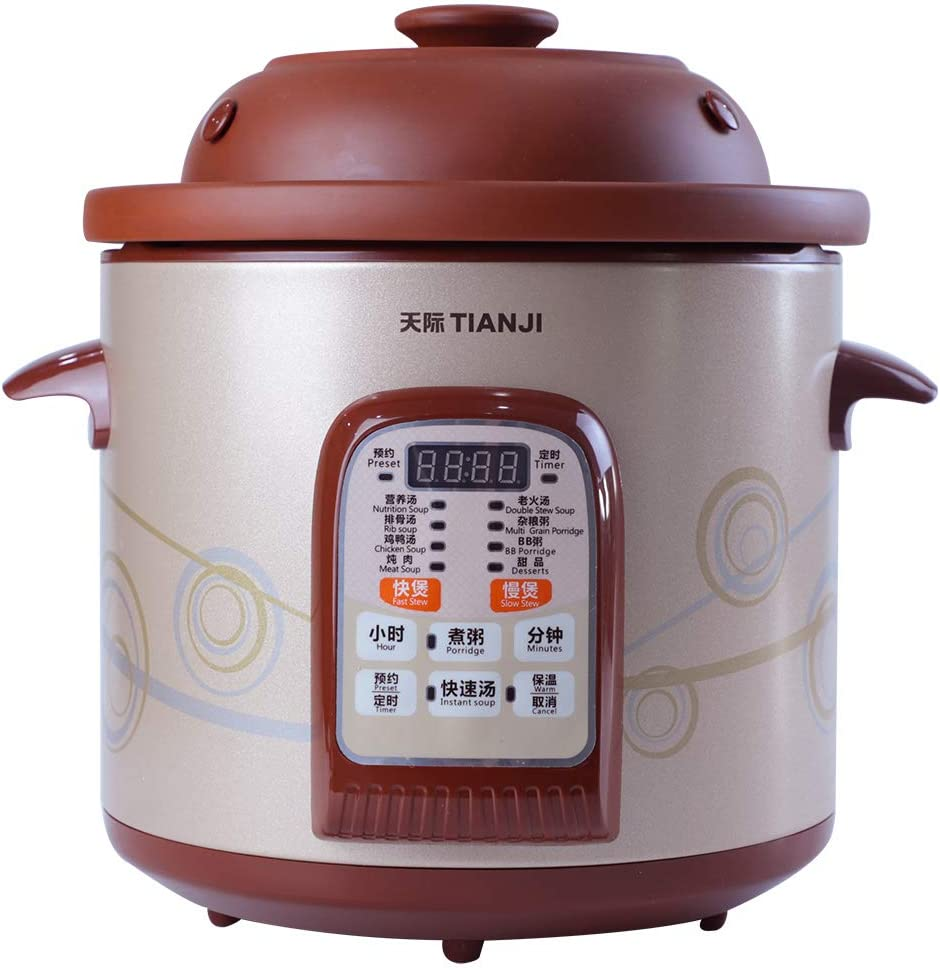 clay pot multi cooker TianJi Slow Cooker Digital Multi-Functional Rice Cooker Programmable Cooker  Purple Clay Stew Pot Healthy Soup Cooker DGD1-1SWD,1L