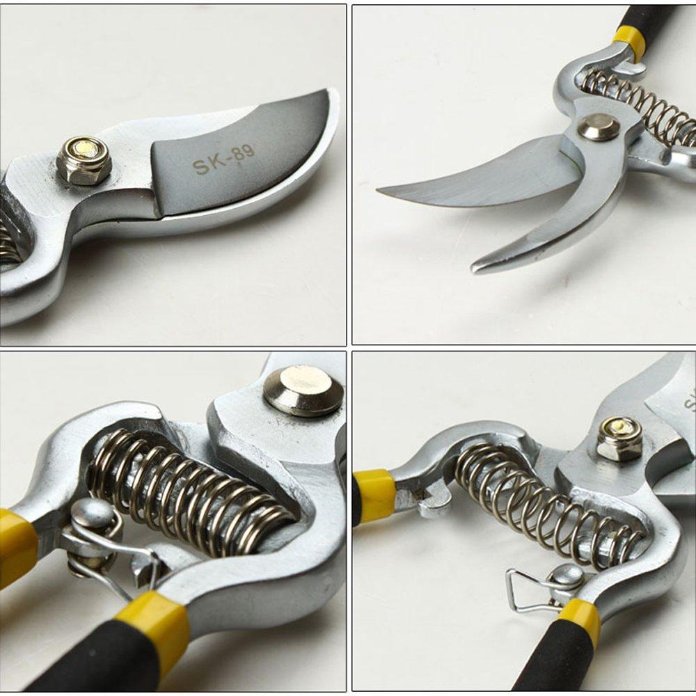 NUZAMAS Bypass Pruning Shears 8 inch Stainless Steel Gardening Hand Pruners Cutter Bush, Shrub & Hedge Clippers Garden Scissors Black by NUZAMAS (Image #3)