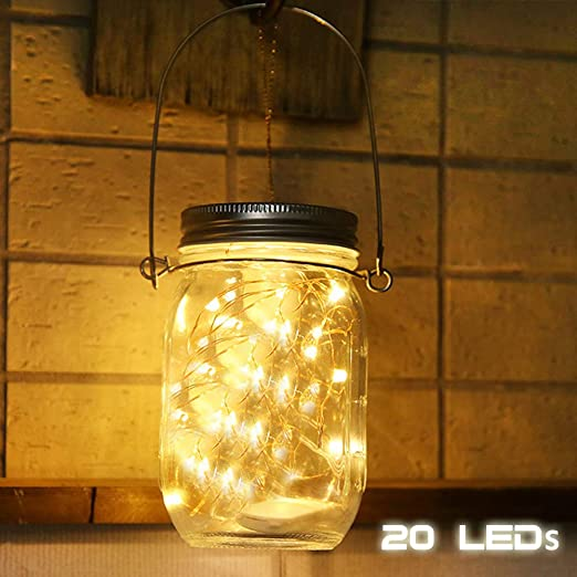 LED Solar Leuchten, Mason Jar Luz, Luz para jardín, Solar de luces, densidad de agua Cristal