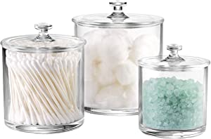 Premium Quality Acrylic Qtip Holder Apothecary Jars Bathroom Vanity Organizer Canister for Qtips,Cotton Swabs,Cotton Balls,Cosmetic Pads,Flossers,Nail Polish,Bath Salts,Clear,Plastic | 3-Pack