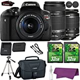 Canon EOS Rebel T6i DSLR Camera with Canon EF-S 18-55mm f/3.5-5.6 IS STM Lens + Canon EF-S 55-250mm f/4-5.6 IS STM Lens + 2 Pieces 32GB SD Memory Card + Canon Bag + Cleaning Kit + Tripod