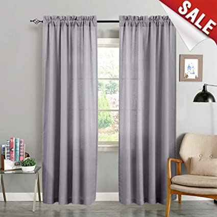 Sheer Curtain Panels for Bedroom Voile Curtains Semi Sheer Casual Weave  Textured Floor-Length Window Drapes for Living Room 95 inches Long 2 Panels  ...