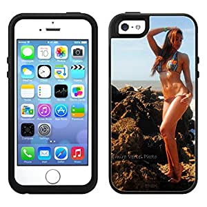 Skin Decal for OtterBox Symmetry Apple iPhone 5 Case - Brunette Standing on Rocks by Emiro