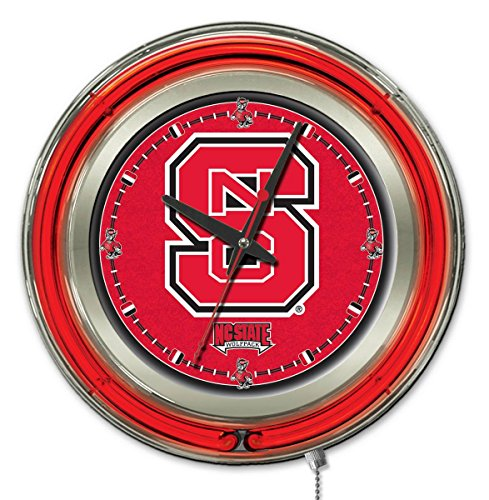 NCAA North Carolina State Wolfpack Double Neon Ring 15-Inch Diameter Logo Clock (Stool Wolfpack State Bar)