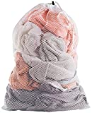 Commercial Mesh Laundry Bag - 24' x 36' - Sturdy white mesh material with drawstring closure. Ideal machine washable mesh laundry bag for factories, college, dorm and apartment dwellers.