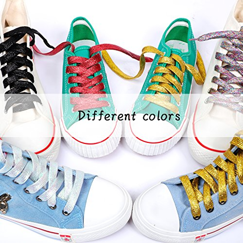 Odema Shoeslaces Glitter Sequin Flat Shoes Strings for Women Men LED Shoes Athletic Sneakers Boots 6 Pairs by Odema (Image #3)