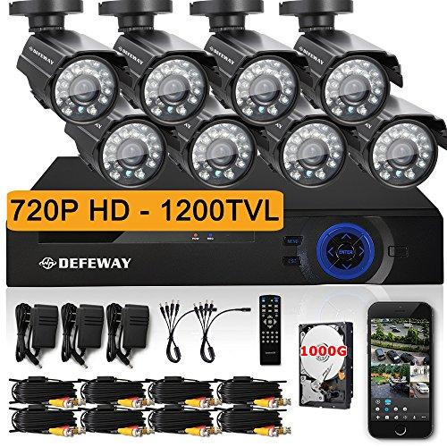 DEFEWAY Outdoor 1500TVL IR Home Security Camera 8 CH 1080N H