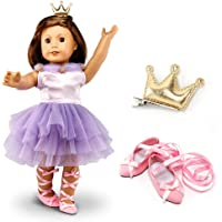 """Oct17 Fits Compatible with American Girl 18"""" Ballet Outfit 18 Inch Doll Clothes Accessories Costume Set Purple Dress…"""