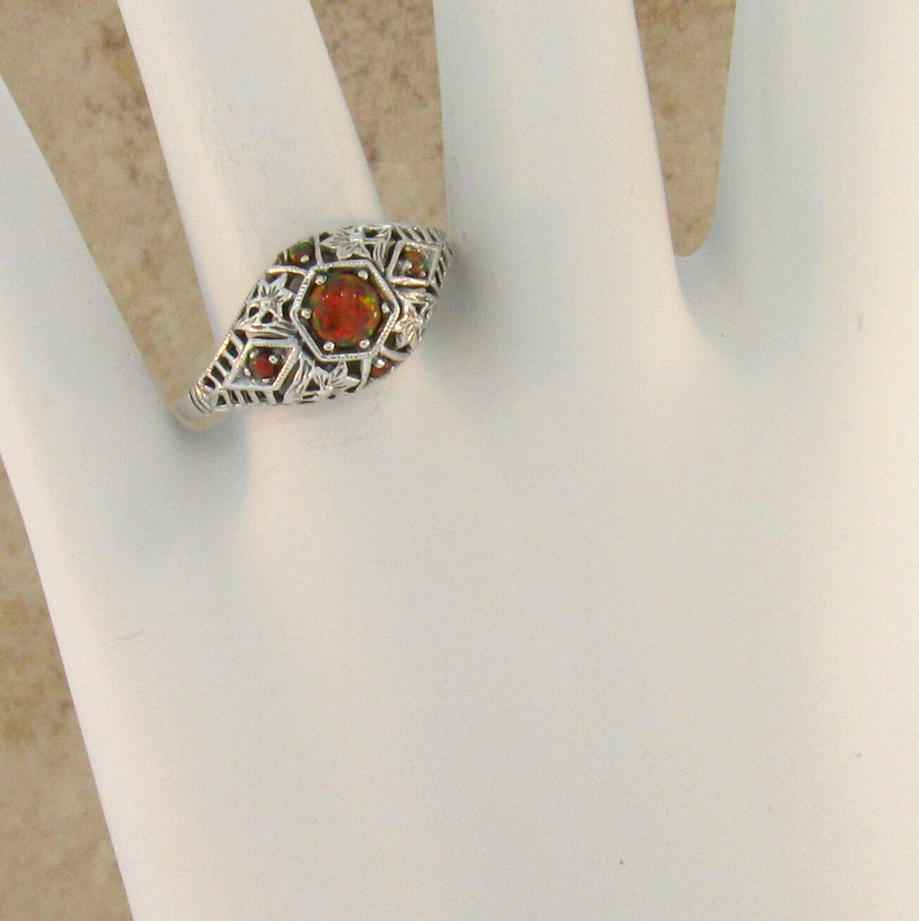 Orange LAB FIRE Opal Antique Deco Style 925 Sterling Silver Ring Size 8.75 KN-1272