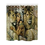 NYMB Beauty Egyptian Decor, Sex Girl Lying with Lions Shower Curtain, Mildew Resistant Polyester Fabric Bathroom Decorations, Bath Curtains Hooks Included, 69X70 inches, (Multi3)